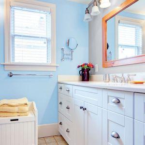 Lekka i świeża aranżacja z wykorzystaniem farby do łazienki Beckers Designer Kitchen&Bathroom marki Beckers. Kolor Sea Breeze. To matowa farba lateksowa polecana do  pomieszczeń narażonych na działanie wilgoci. Fot. Beckers