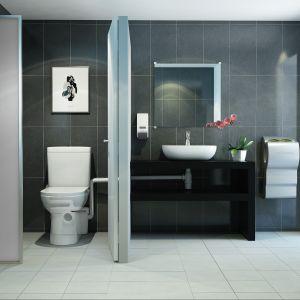 Dzięki urządzeniom rozdrabniającym i przepompowującym ścieki, łazienkę można usytuować z dala od pionu, w piwnicy czy na strachu. Fot. SFA Poland