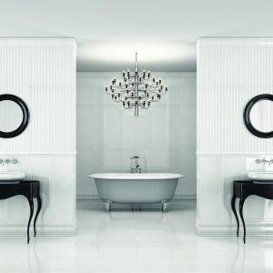 Seria Classic Marbles Carrara firmy Roca stylizowana na naturalny marmur Carrara. Fot. Roca