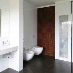 Szafka na łazienkowe akcesoria jest niemal niewidoczna. Umieszczona we wnęce, skryta za frontem z mlecznego szkła doskonale licuje się z powierzchnią okładziny ceramicznej. Fot. Bartosz Jarosz