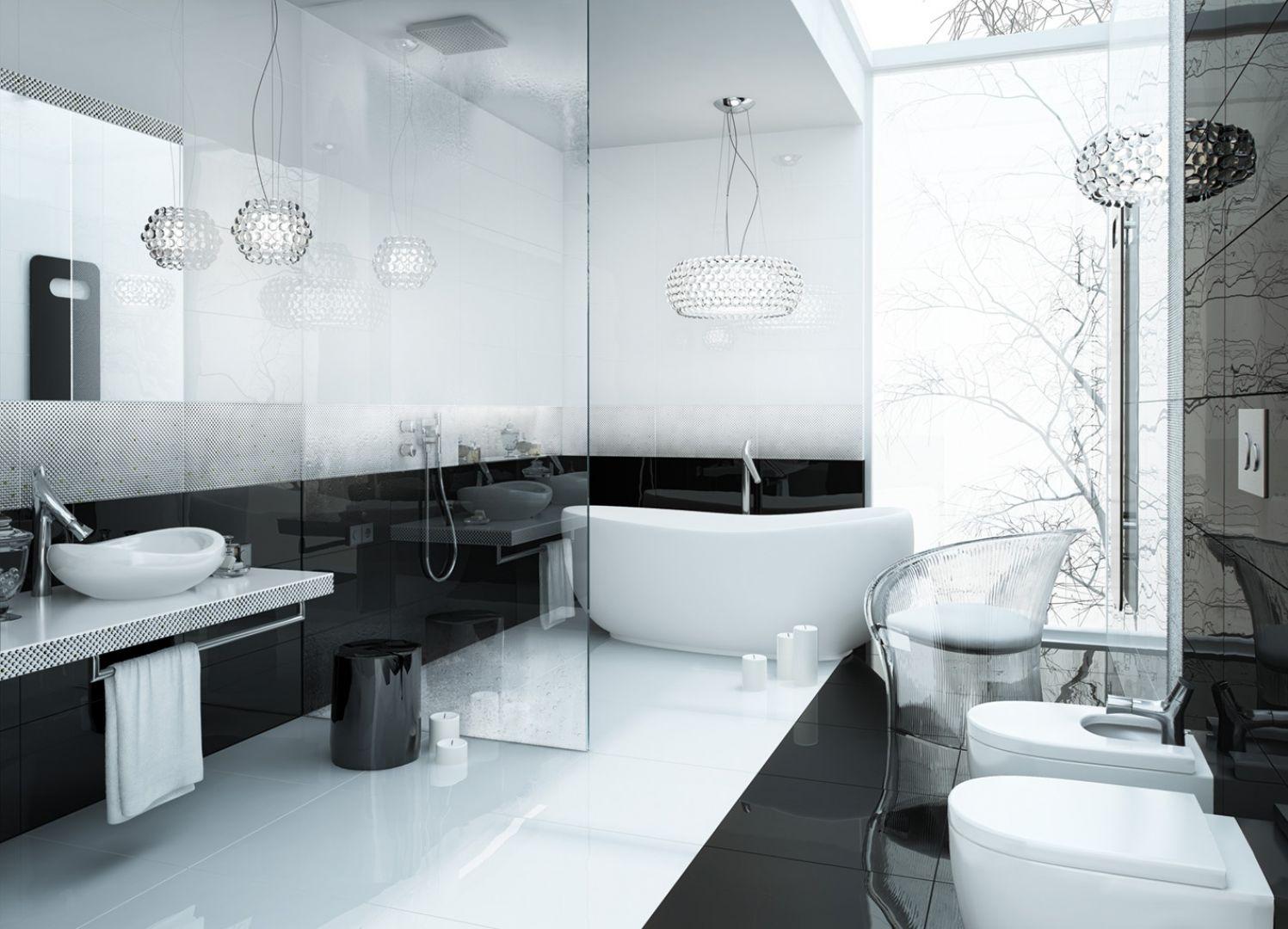 Kolekcja Opp! z dekorem Dot firmy Ceramstic. Czarne kropki dodają łazience szyku. Fot. Ceramstic
