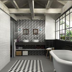 W kolekcji Vanguard Aparici czarno-białe płytki z motywem dekoracyjnym, który daje wrażenie trójwymiarowości. Fot. Aparici
