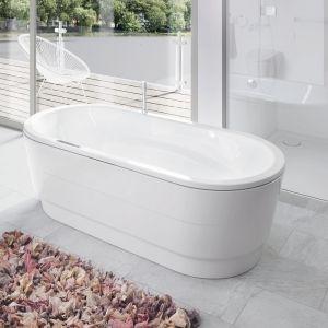 Wyposażenie z serii Kaldewei Superplan Plus Vaio Duo Oval zdobi wyjątkowy drobiazg - dekoracyjny dywanik w odcieniach różu. Fot. Kaldewei