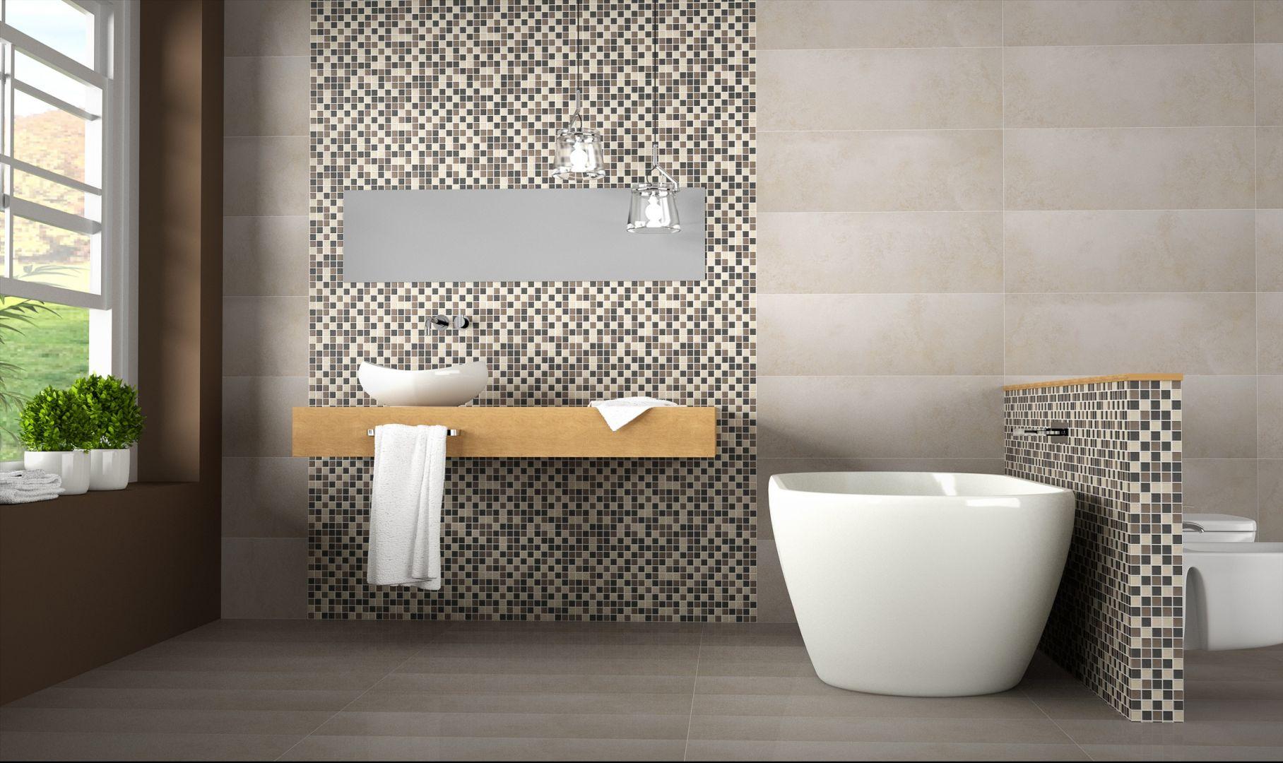 Białe, beżowe i szare kostki składają się na nowoczesną i efektowną mozaikę z kolekcji Mates Togama zaprezentowaną na fragmencie ściany i obudowie ścinki działowej. Fot. Togama