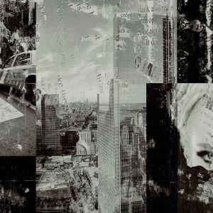 Wzór dekoru Attic Newspaper Ceramstic z kolekcji Attic tworzy kolaż wielkomiejskich fotografii. Fot. Ceramstic