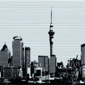 Dekor Urban z kolekcji Opp! Ceramstic. Wyglądem przypomina rycinę, na której utrwalono widok na słynne dzielnice światowych metropolii. Fot. Ceramstic