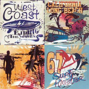 Płytka dekoracyjna Surf marki Megalos Ceramics by Dune. Pomysłowa i kolorowa - oddaje klimat zakochanej w surfowaniu Kalifornii i wykorzystuje motywy graficzne z etykiet z lat 60. XX wieku. Fot. Dune