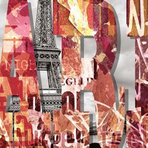 Dekor Paris z kolekcji Loft oraz Konkret Ceramstic. Nazwa francuskiej stolicy ułożona ze stylowych i kolorowych liter na tle widoku na wieżę Eiffla. Fot. Ceramstic