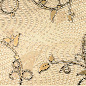Traviata ornament B oferty Tubądzin. Florystyczny motyw, złote listki i ozdobne kryształki. Fot. Tubądzin