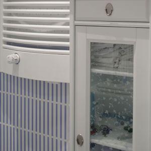 Klimatyczna szafka z szybką pozwala łatwo zobaczyć łazienkowe przybory. Fot. Monika Filipiuk-Obałek