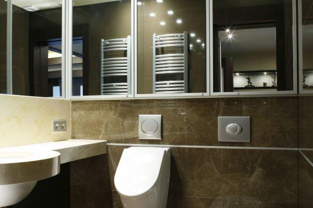 Ta elegancka toaleta to wnętrze urządzone w praktycznej, ciemnej kolorystyce. Położone na paterze domu, w którym właściciele prowadzą salon sprzedaży, spełnia funkcję publiczną.