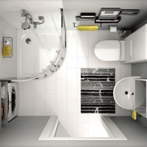 Narożna kabina, pralka we wnęce, sedes z modułem sanitarnym (maskuje instalacje), szafka z lustrem to sprawdzone patenty do małych łazienek. W tej aranżacji wykorzystano serię wyposażenia Nova Pro marki Koło. Fot. Koło