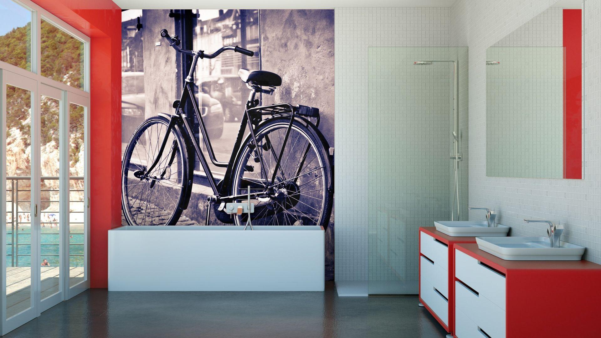 Fototapeta jest jednym z najmodniejszych wykończeń ścian w łazience. Na laminat czy szkło można nanieść zdjęcie zrobione własnoręcznie lub wybrane z banku fotografii. Na zdjęciu: fototapeta z katalogu sklepu Decomania. Fot. Decomania.
