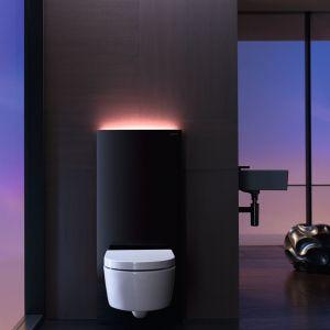 Z możliwością dekoracyjnego podświetlenia –  Monolith Plus firmy Geberit to moduł sanitarny w  kilku wariantach kolorystycznych. Cena w zależności  od partnera handlowego. Fot. Geberit