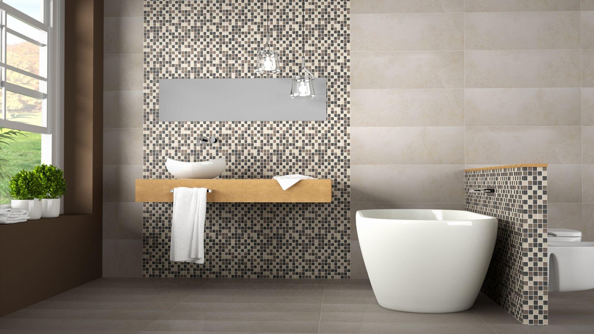 Melan jest sprawdzonym sposobem na uniknięcie monotonii w beżowych łazienkach – seria Mates firmy Togama. Fot. Togama