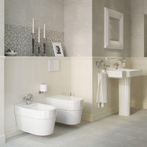 Jasne szarości ścian udało się uzyskać dzięki płytkom ceramicznym Claso firmy Cersanit. Fot. Cersanit