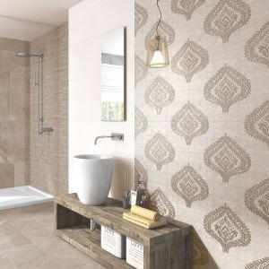 Dekory ułożone z wielu płytek pięknie zdobią ścianę. Na zdjęciu: seria Globe marki Unicer. Fot. Globe