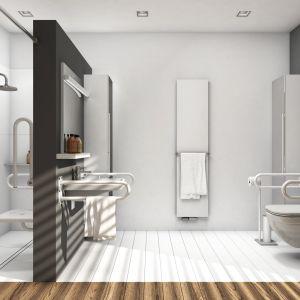 Seria Lehnen Novus z oferty marki Kolo oferuje duży wybór specjalnych uchwytów i poręczy ułatwiających korzystanie ze wszystkich łazienkowych stref osobom z ograniczeniami ruchowymi. Fot. Koło