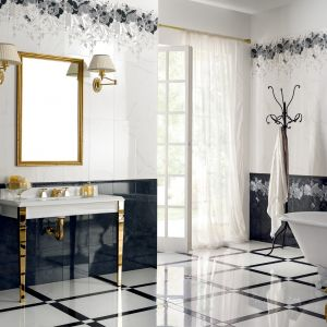 Lśniące płytki na podłodze pasują do aranżacji w stylu glamour lub pałacowym. Wysoki połysk okładzin dodaje łazience luksusowego charakteru. Na zdjęciu: gres porcelanowy Arte firmy NovaBell. Fot. NovaBell