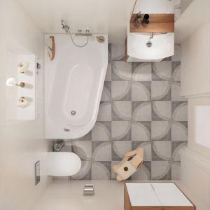 Podłoga z matowych płytek ma oryginalnie ułożony, dekoracyjny wzór. Szare kwadraty dobrze komponują się z drewnianymi akcentami w ciepłym odcieniu brązu. Na zdjęciu: kolekcja płytek gresowych Mato (dekor Grafica 1) marki Cersanit. Fot. Cersanit