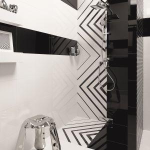 W strefie prysznica można ułożyć zarówno lśniący gres, jak i terakotę w rozmiarze 30x30 cm. Ponadczasowe biel i czerń to kolory do łazienki w każdym stylu. Na zdjęciu: terakota z kolekcji Opp! marki Ceramstic. Fot. Ceramstic