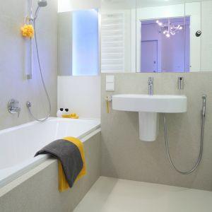 Wygodna wanna z baterią prysznicową pozwala wziąć także szybki prysznic. Szyba z matowego szkła wpuszcza do wnętrza światło dzienne z gabinetu znajdującego się tuż za ścianą. Fot. Bartosz Jarosz