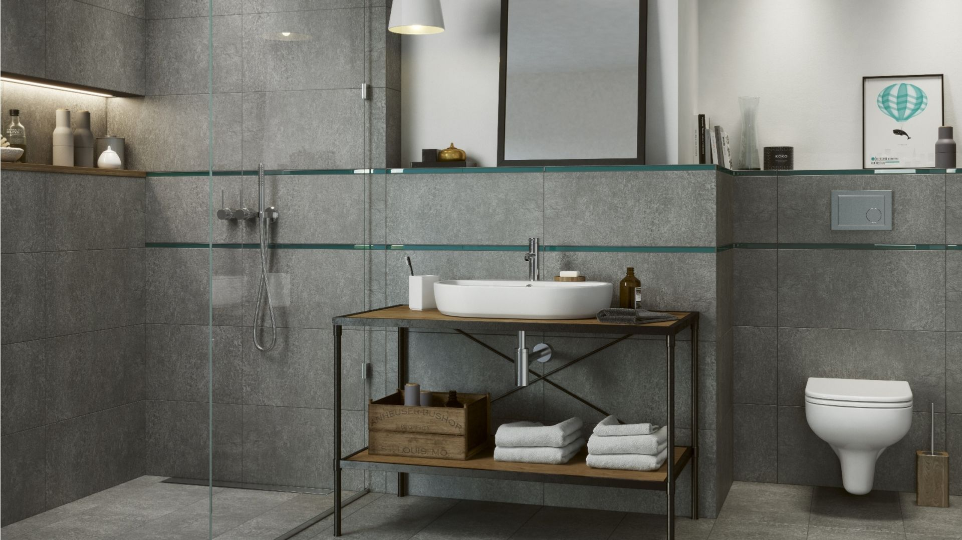 Minimalistyczna łazienka przykuwa uwagę dzięki płytkom przypominającym beton. Na zdjęciu: seria Monti marki Cersanit. Fot. Cersanit