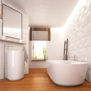 Fugi białe i beżowe w jasnej łazience z drewnem. Fot. Atlas