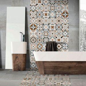 Stylizowane na cementowe płytki Settecento 60 z wzorem inspirowanym stylem meksykańskim. Fot. Azteca Ceramica