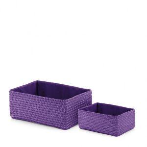 Pleciony kosz Combo w pięknym, fioletowym kolorze. Idealny na akcesoria łazienkowe. Fot. Home & You