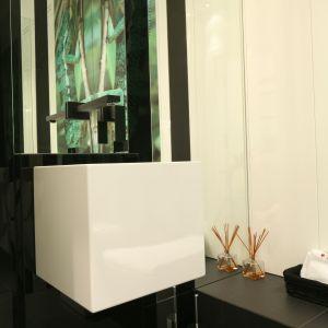 Duża lustrzana tafla pokrywa całą ścianę nad umywalką. Projekt: Katarzyna Mikulska-Sękalska. Fot. Bartosz Jarosz
