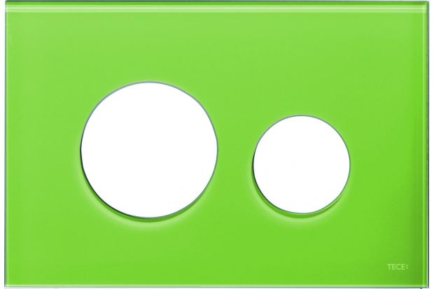 Żywa zieleń to dość odważna propozycja, dlatego w łazience warto postawić na detale w tym kolorze, np. przycisk spłukujący.