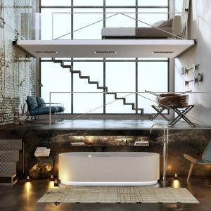Industrialna aranżacja łazienki od włoskiego producenta Moma Design. Surowość ścian i podłóg, na których widnieje obdrapany tynk, cegła i beton świetnie uzupełnia się z lekkością metalowych i szklanych powierzchni. Fot. Moma Design