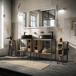 Jeszcze jedna propozycja marki Cerasa z kolekcją Urban Play w roli głównej. Meble łazienkowe wsparto na grafitowych, metalowych stelażach, z którymi idealnie współgra czerń armatury i umywalek nablatowych. Tłem dla wszystkiego jest ściana ze zdartym tynkiem. Fot. Cerasa