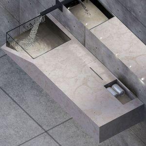 """""""Prostota i funkcjonalność w łazience""""  to projekt, który zajął II miejsce w kategorii Kreatywne wykorzystanie w konkursie Trawertyn Design. Projekt: Ewelina Kruz"""