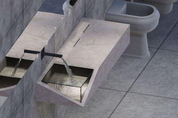 Kamień w łazience: niezwykły projekt mebla z raciszyńskiego trawertynu