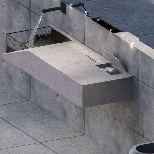 Projekt mebla łazienkowego wykonanego z raciszyńskiego trawertynu. Projekt: Ewelina Kruz