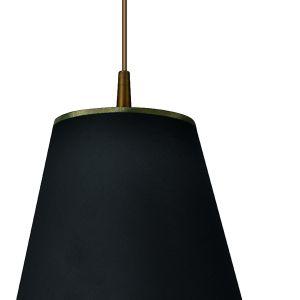Wykonana z tworzywa sztucznego i tkaniny lampa Foglie di sole pięknie łączy kolor złota i czerń. Fot. Spot Light