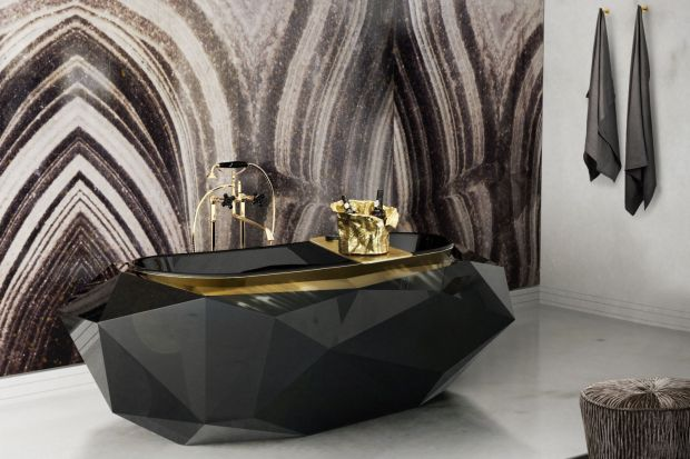 Czerń i złoto: elegancki duet do łazienek