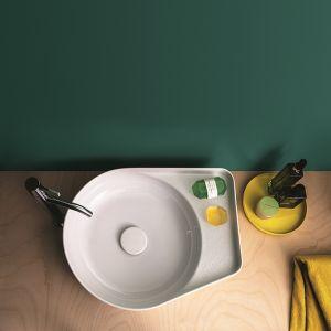 Umywalka nablatowa Val z cienkimi rantami, wykonana z materiału SephirKeramik marki Laufen. Fot. Laufen
