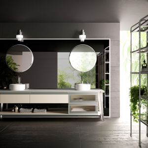 Koncepcja łazienki Diesel Open Workshop w industrialnym stylu, ze szkieletowymi konstrukcjami. Fot. Diesel
