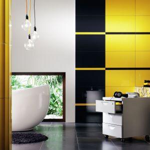 Płytki ceramiczne z kolekcji Colour Yellow w żółtym i czarnym kolorze. Fot. Tubądzin