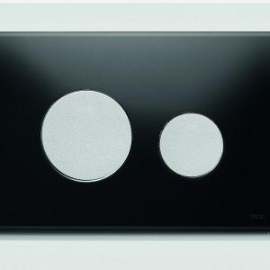 Szklany przycisk spłukujący TECEloop z klawiszami w wykończeniu chrom matowy; wymiary: 150x220 mm; cena netto: 576 zł