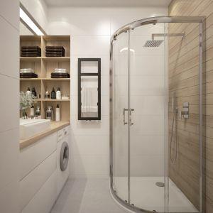 Zamykane drzwiczki kabiny prysznicowej pozwolą maluchom bawić się wodą, a dorośli będą mogli być spokojni, że cała łazienka nie znajdzie się pod wodą. Fot. Sanplast