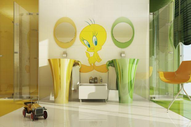 Płytki z sympatycznym kanarkiem Tweety czy umywalka z wesołą ośmiorniczką - producenci wyposażenia łazienek oferują bardzo pomysłowe rozwiązania dla najmłodszych.