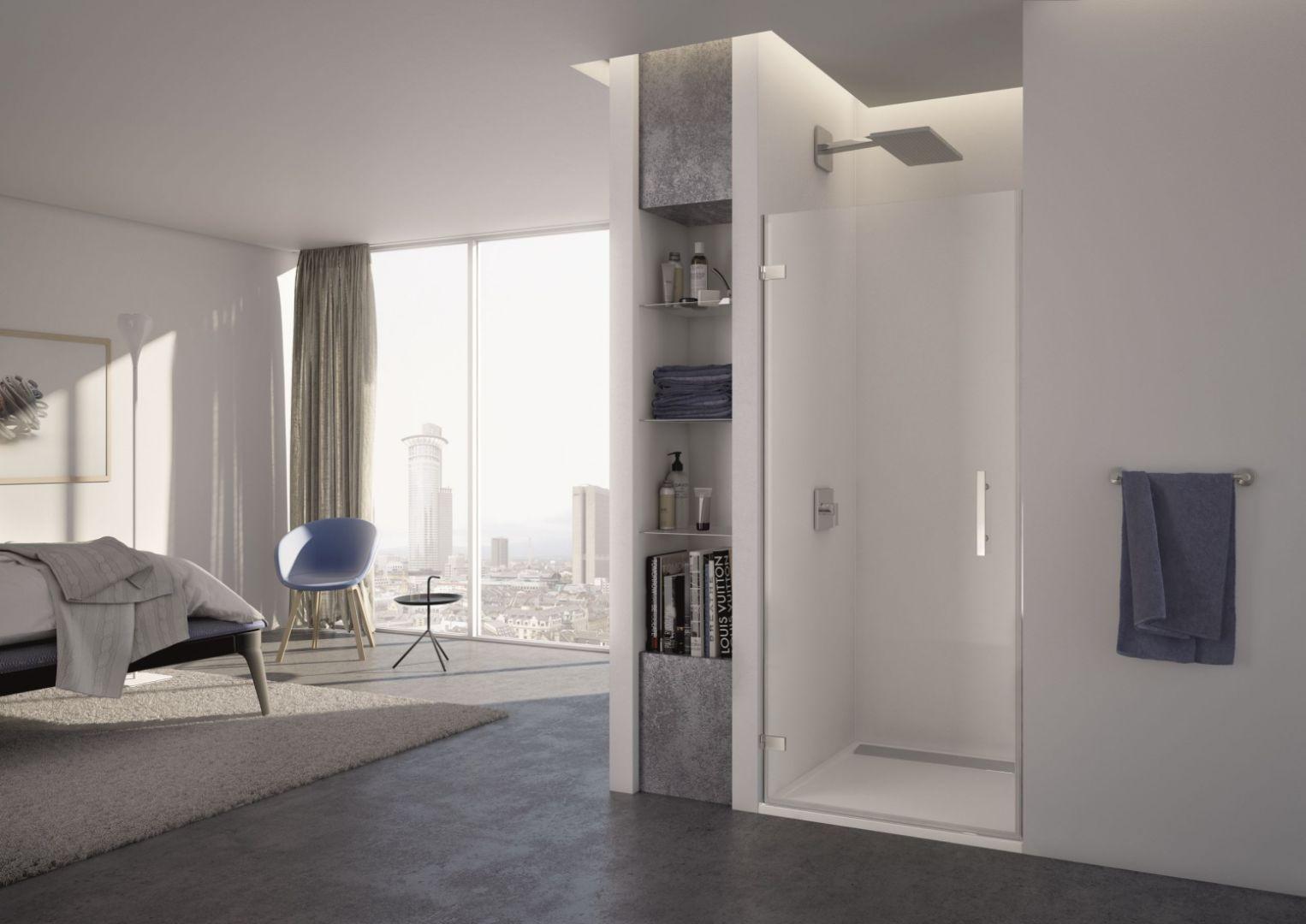 Jednoczęściowe drzwi wnękowe PUR1 z serii Pur marki SanSwiss. Fot. SanSwiss