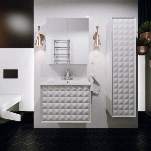 Kolekcja mebli łazienkowych Zirco marki Defra z niezwykłymi frontami o trójwymiarowej fakturze. Fot. Defra