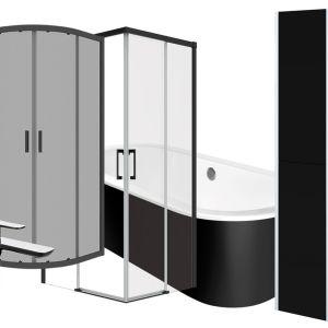Czarne elementy wyposażenia łazienkowego. Fot. Leroy Merlin