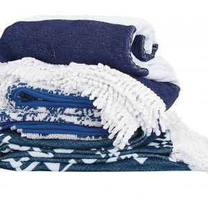Zestaw ręczników w marynarskich kolorach. Fot. TK Maxx