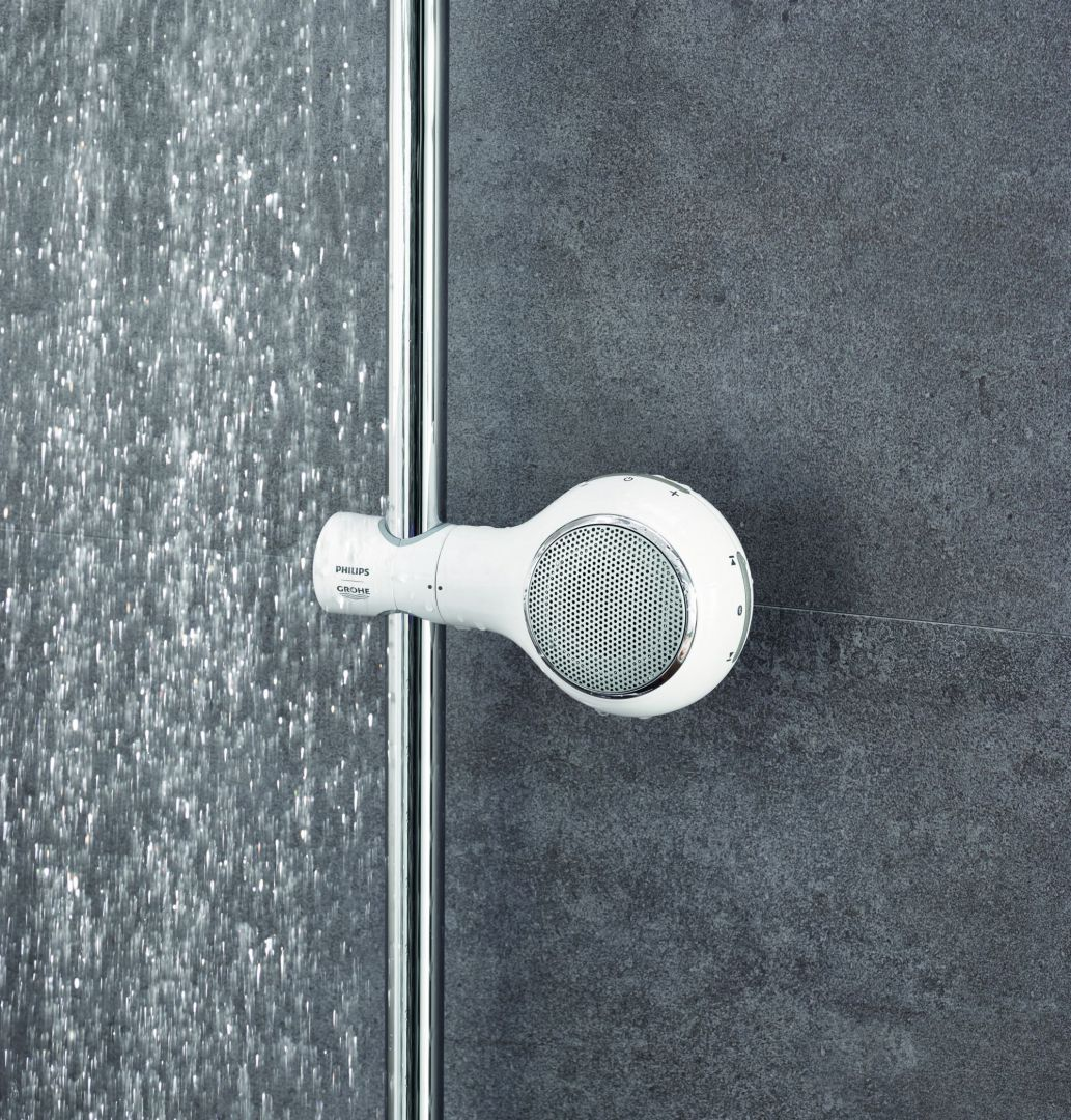 Głośnik Aquatunes stworzony we współpracy z firmą Philips. Fot. Grohe